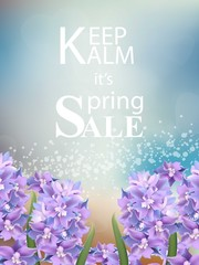 Spring sale card with realistic violet flowers Vector