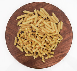 Gluten free pasta made with maize and whole grain rice. Isolated.