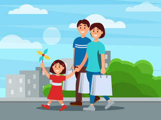 Happy family walking by park after shopping. Mother, father and their daughter. Buildings and green bushes on background. Parenthood concept. Cartoon people. Flat vector