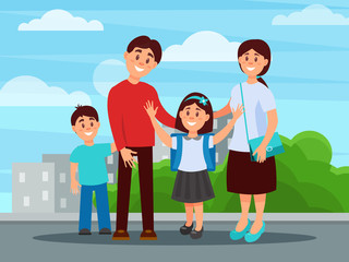 Portrait of happy family mother, father, son and daughter. Girl with school backpack on shoulders. City buildings and green bushes on background. Parenthood concept. Flat vector