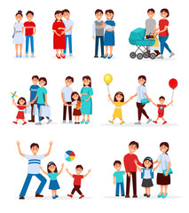 Collection of young families. Young couples. Cartoon people expecting baby born. Pregnant woman. Concept of parenting. Family recreation. Flat vector design