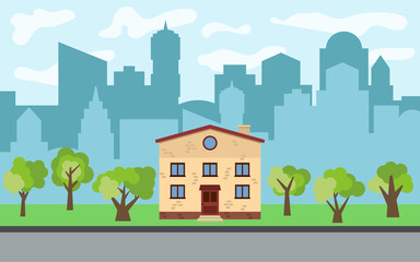 Vector city with two-story cartoon house and green trees in the sunny day. Summer urban landscape. Street view with cityscape on a background
