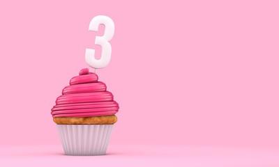 Number 3 pink birthday celebration cupcake. 3D Rendering