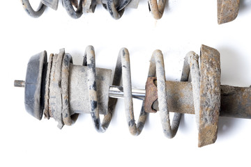 Old, dirty shock absorber, car suspension parts