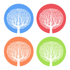 Set of four white trees with leaves on colorful round background. Vector illustration