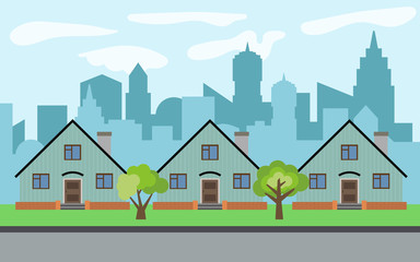 Vector city with three cartoon houses and green trees in the sunny day. Summer urban landscape. Street view with cityscape on a background