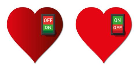Cœur - amour - Interrupteur - concept - sentiment -divorce - séparation - désir - sexuel - on - off