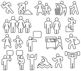 people thin line icons set (happy family, father, mother, grandfather, children, woman, parent together, wc icon, icon male and female, recycling sign, demonstrators, gym, recycling)
