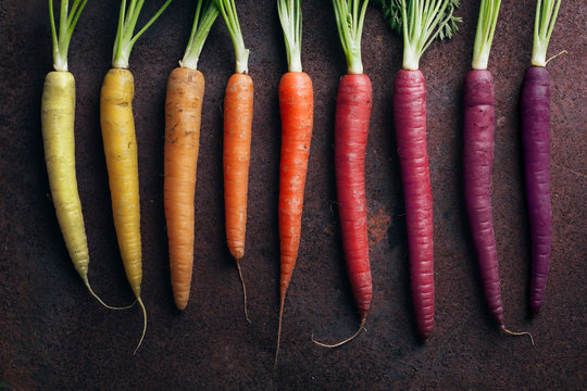 Close up of carrots arranged against gray background