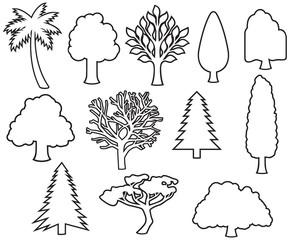 trees icons thin line set