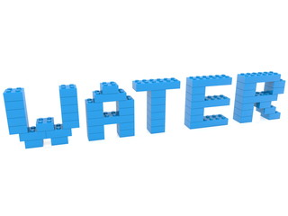Water concept built from toy bricks