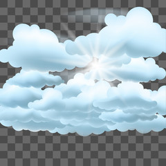 Clouds and sun. Vector illustration on transparent effect background.