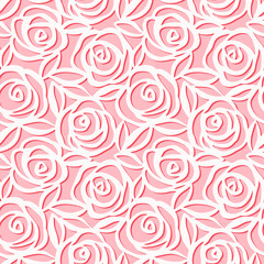 Seamless pattern. Cute vector illustration of roses with leaves on pink background. Origami style. Paper cut pattern.