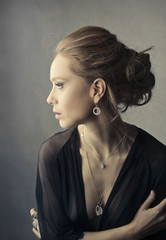 Classy woman wering jewels