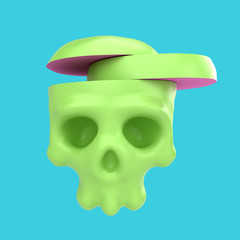 Cartoon funny skull cut to pieces. Stylish cute colorful children illustration isolated on simple background. Template for design project. Realistic 3d render.