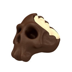 Cartoon funny bitten candy in form of skull. Stylish cute colorful children illustration isolated on simple background. Template for design project. Realistic 3d render.