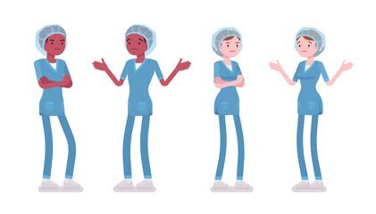 Male, female nurse in negative emotions