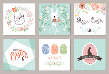 Vector Easter Party Invitations and Greeting Cards with eggs, flowers, floral wreath and frames, rabbit and typographic design.