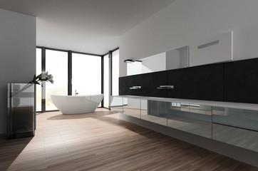 Large spacious bathroom with freestanding tub