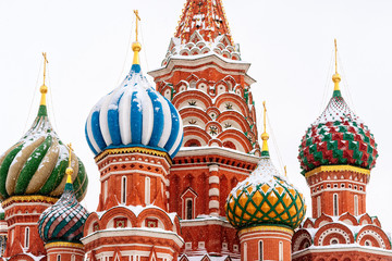 Moscow Saint Basil Cathedral in winter