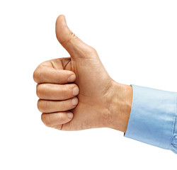Man's hand in shirt showing thumb up - like sign, isolated on white background. Close up. Positive concept. High resolution product.
