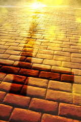 Way of salvation with shadow of cross on slabs vertical