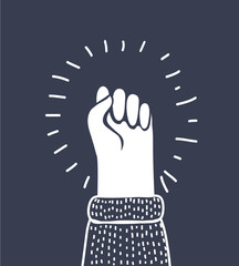Fist vector icon isolated, hand with shaking fist raised up.