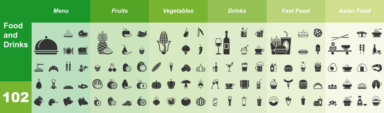 Food and Drinks, 102 Iconset