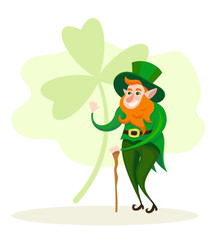 Basic RGBVector cute cartoon leprechaun smilling character st Patrick's day greeting card