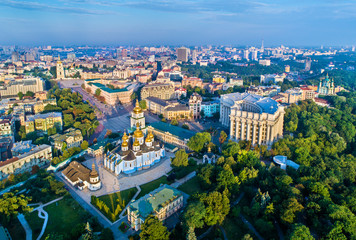 Foto auf Leinwand Kiew Aerial view of St. Michael Golden-Domed Monastery, Ministry of Foreign Affairs and Saint Sophia Cathedral in Kiev, Ukraine