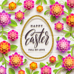 Easter greeting card. Easter calligraphic greeting in glitter gold egg-shaped frame and paper flowers on a white plank background. Vector illustration.
