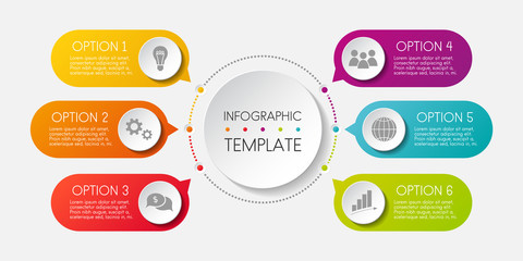 Template of an infographic. Graph with colourul icons. Vector.