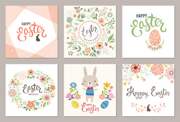 Cute Happy Easter templates with eggs, flowers, floral wreath, rabbit and typographic design. Vector illustration.
