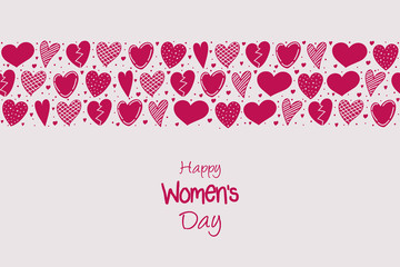 Women's Day - card with cute hand drawn hearts. Vector.