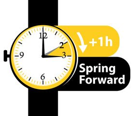 Summer time. Daylight saving time. Spring forward watch vector icon II.