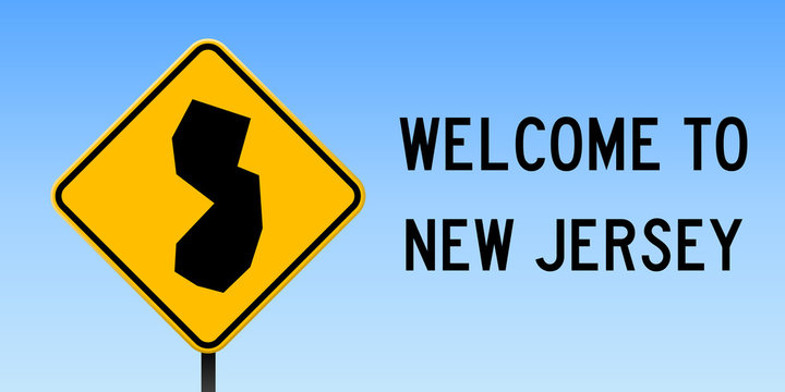 New Jersey map on road sign. Wide poster with New Jersey us state map on yellow rhomb road sign. Vector illustration.