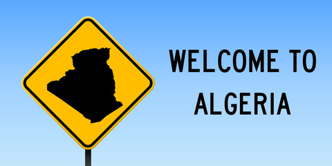 Algeria map on road sign. Wide poster with Algeria country map on yellow rhomb road sign. Vector illustration.