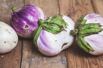 Four ripe eggplant varieties of bumbo lie on boards