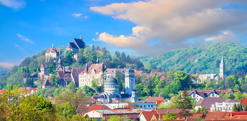 Cityscape of Sighisoara, panoramic view of historic buildings and citadel architecture of Transylvania Wall mural