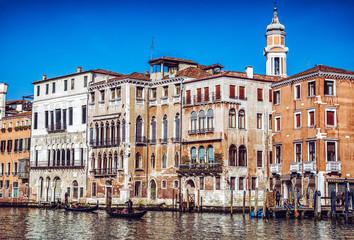 Gondolas in Grand canal at Venice