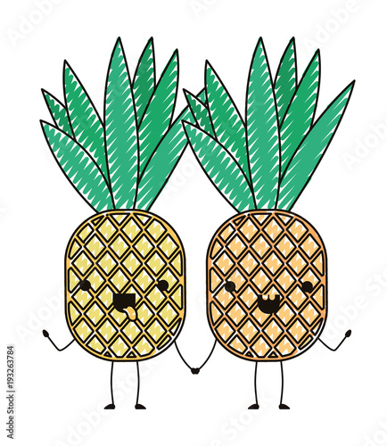 Pineapple Fresh Fruit Couple Kawaii Characters Vector