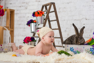 little boy in rabbit costume lays in flowers and easter rabbit