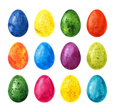 Colorful watercolor easter eggs set isolated on white background