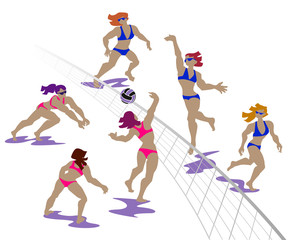 Vector illustration of volleyball players at beach. Female beach volleyball.