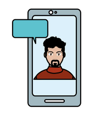 line color elegant man inside smartphone with chat bubble