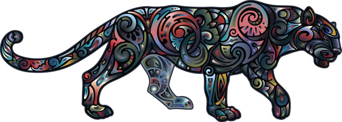 Panther, color solution with a gradient on a black background
