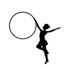 Girl gymnastic sport silhouette sportswoman hula hoop