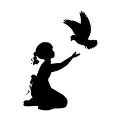 Silhouette girl bird pigeon world