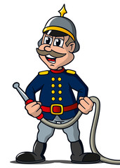 Cartoon Feuerwehr Hauptmann historisch