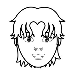 line man head user with hairstyle design